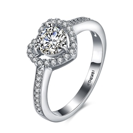 Ericdress Round Cut Created White Sapphire Heart Wedding Ring