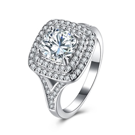 Ericdress Classic Fully-Jewelled Created White Sapphire Ring