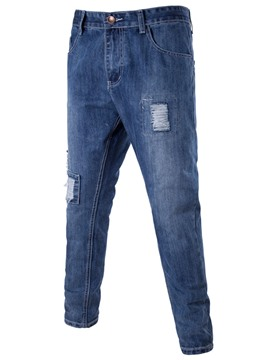 Ericdress Denim Holes Unique Casual Men's Pants