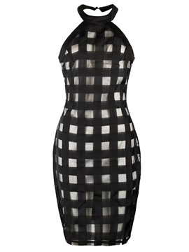 Ericdress Halter Backless Mesh Patchwork Bodycon Dress
