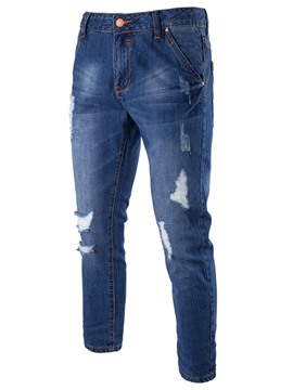 Ericdress Denim Holes Casual Ninth Men's Pants
