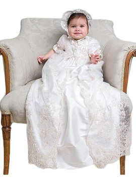 Ericdress Baby Girl' Tulle Lace Christening Gown with Bonnet