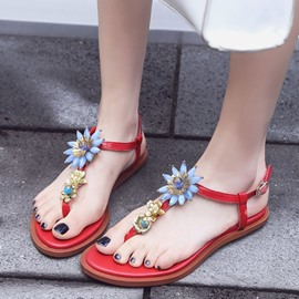 Ericdress Lovely Rhinestone Thong Flat Sandals