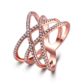 Ericdress Exquisite Crossed Rose Gold Diamante Ring