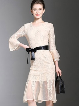 Ericdress V-Neck Bell Sleeve See-Through Lace Dress