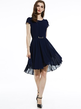 Ericdress Round Neck Plain Asymmetrical A Line Dress