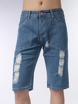 Ericdress Half Legs Holes Denim Men's Shorts