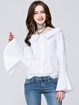 Ericdress Off-Shoulder Bell Sleeve White Blouse