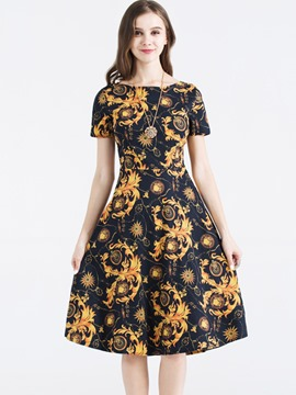 Ericdress Vibrant Print Short Sleeve Expansion A Line Dress