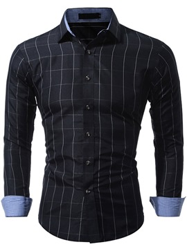 Ericdress Plain Long Sleeve Plaid Casual Men's Shirt