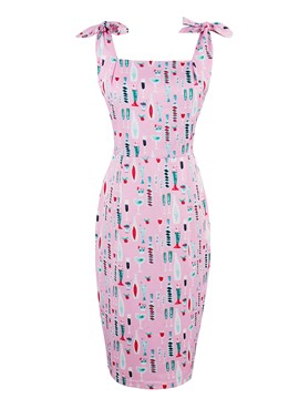 Ericdress Print SleevelessKnee-Length Bodycon Dress