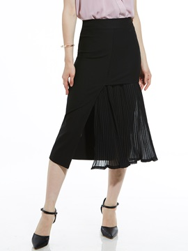 Plain Ankle-Length Pleated Asymmetric Women's Skirt