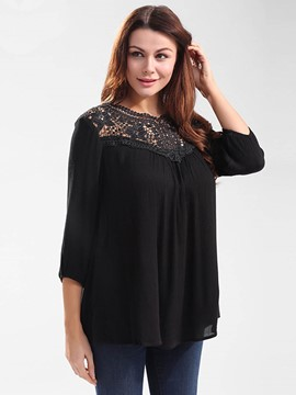 Ericdress Lace Crochet Pleated T-Shirt