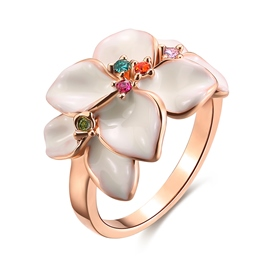 Ericdress Colored Rhinestone Flower Rose Gold Ring