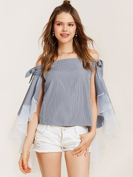 Ericdress Slash Neck Stripe Patchwork Blouse