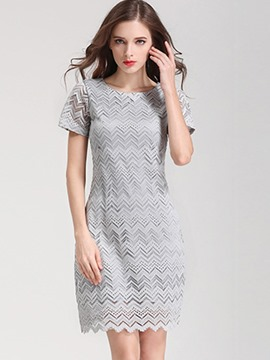 Ericdress Simple Scoop Short Sleeve Lace Dress