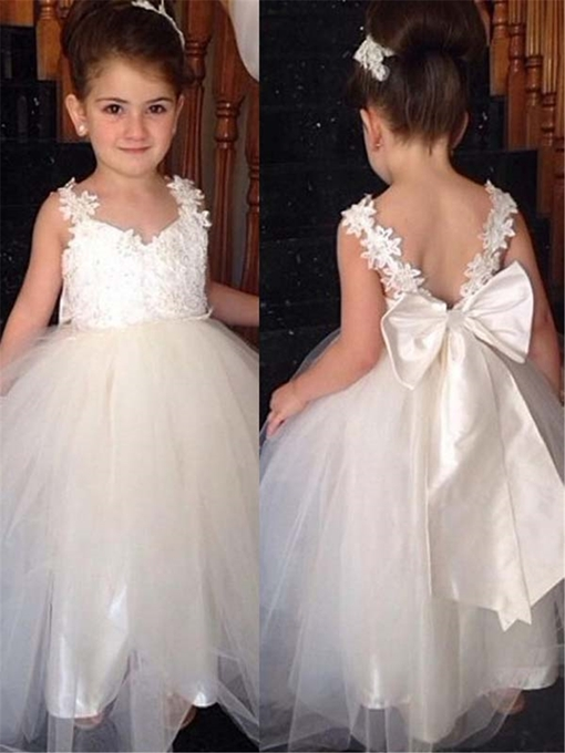 Ericdress Tulle Applique Straps Bowknot Flower Girl Dress
