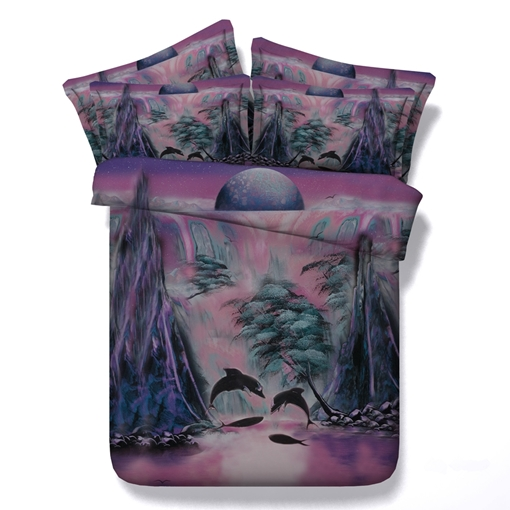 Dolphin Bay Printed Cotton 4-Piece 3D Bedding Sets/Duvet Covers