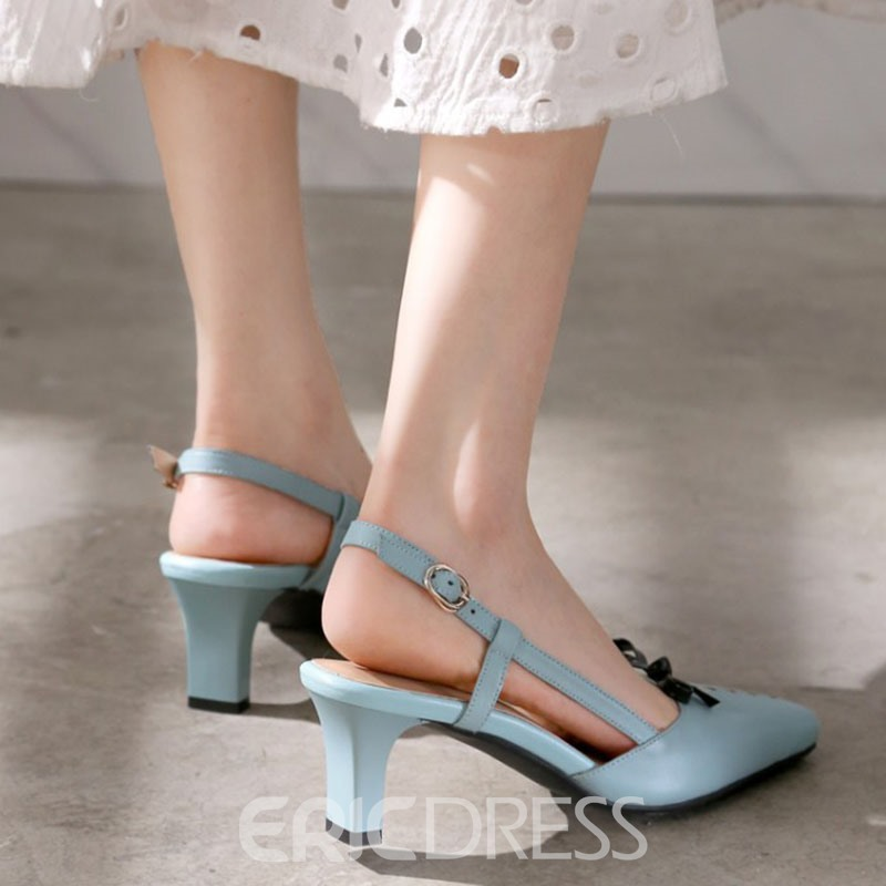 Ericdress Fresh Summer Bowtie Backless Stiletto Sandals