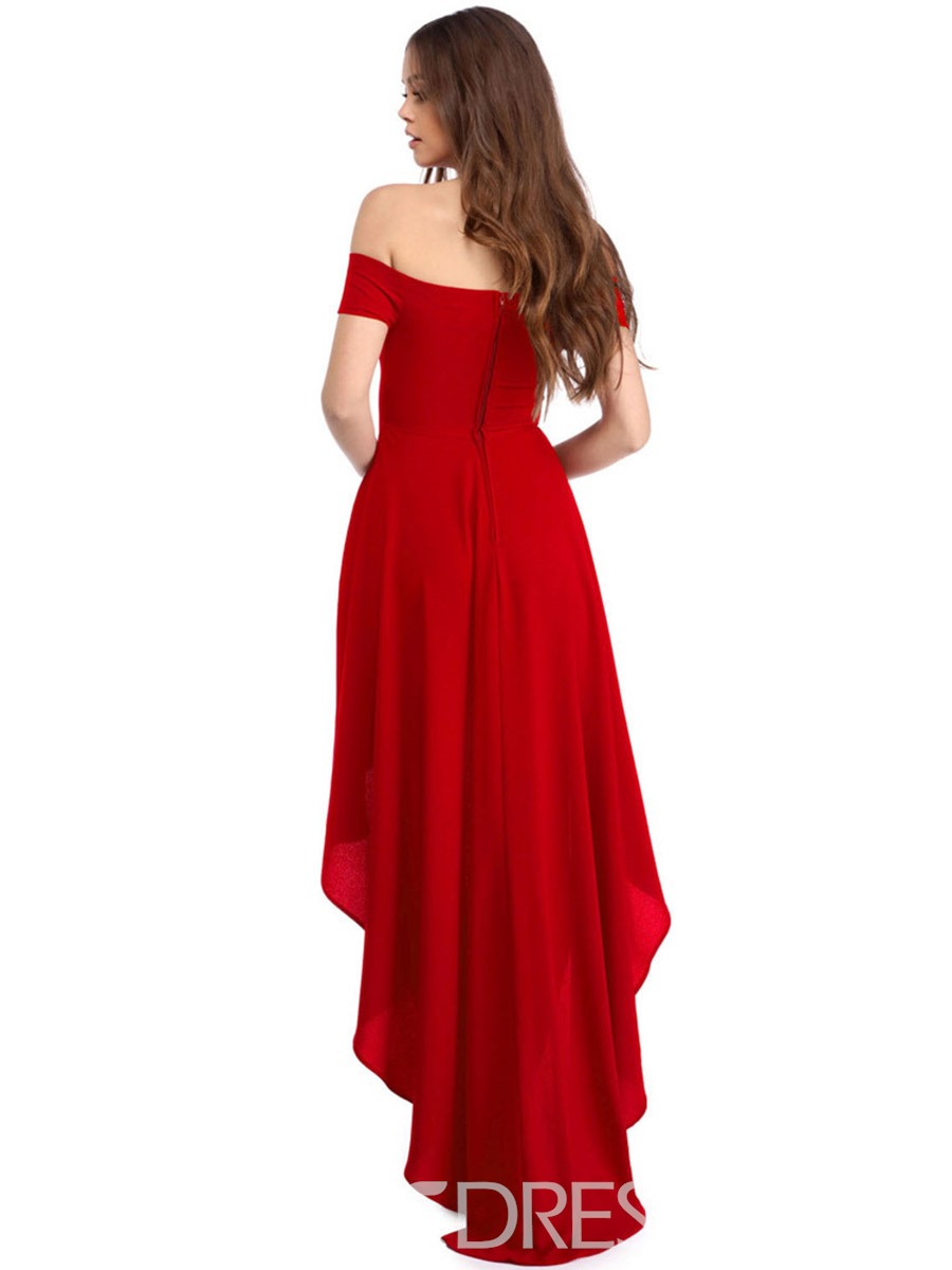 Ericdress Slash Neck Backless High-Low Hem Maxi Dress