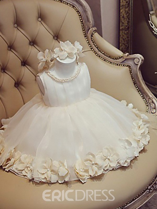 Ericdress Tea Length Pearl Flower Girl Party Dress