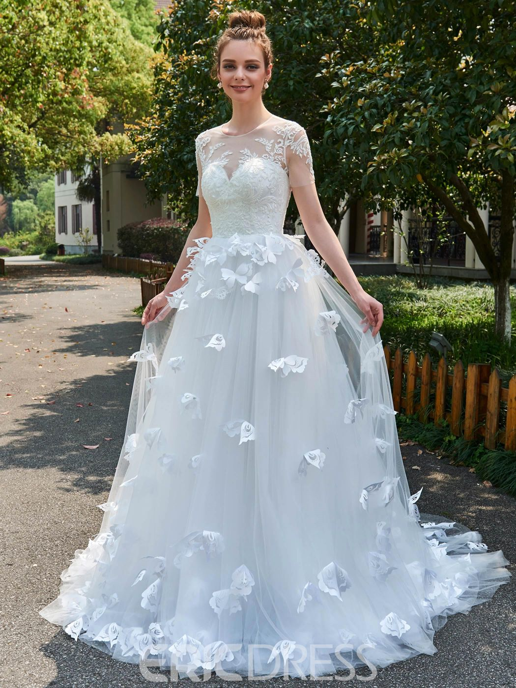 Ericdress A-Line Short Sleeves Tulle 3D Floral Appliques Wedding ...