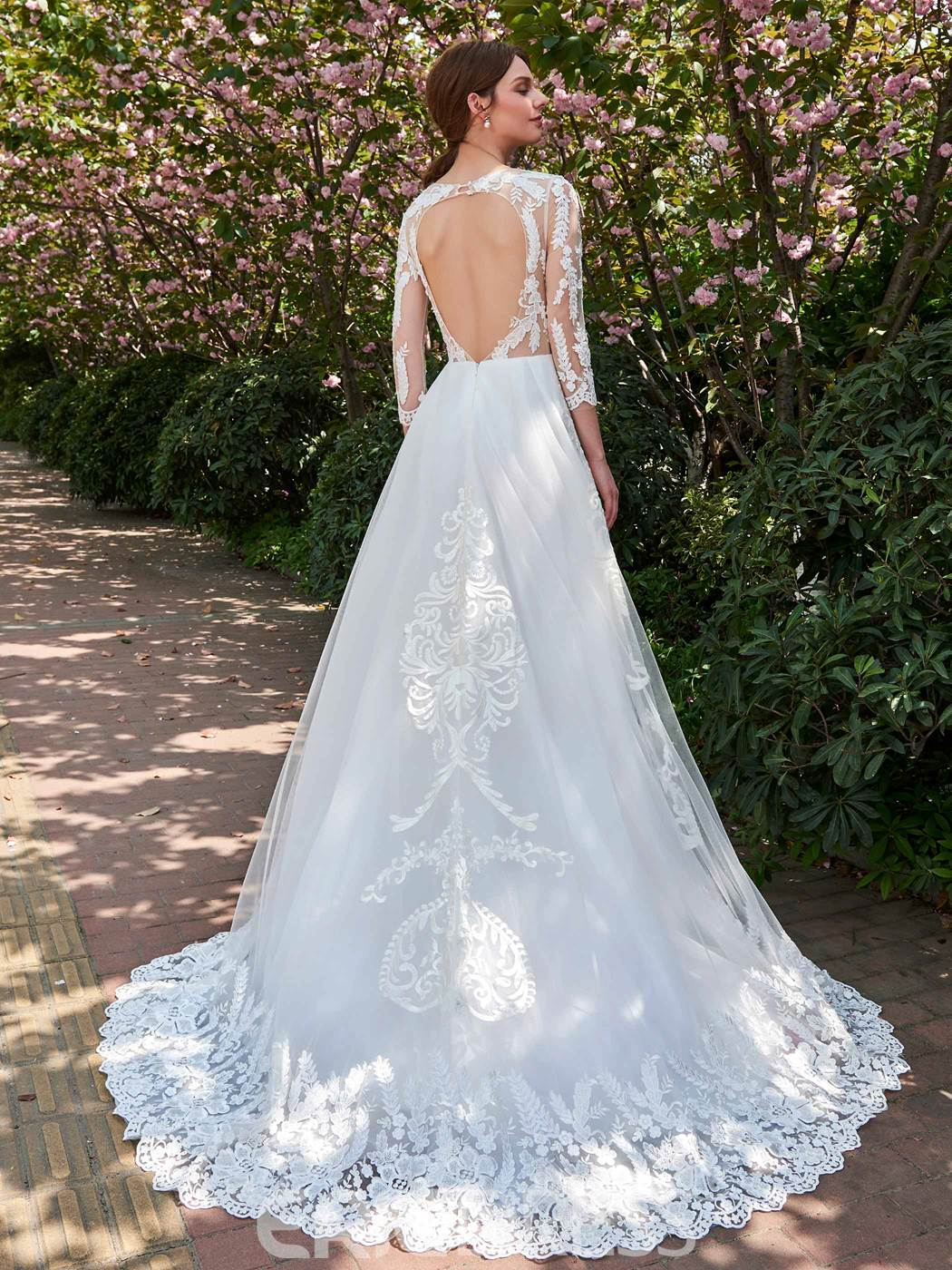 Ericdress Illusion Neckline Backless A Line 3/4 Length Sleeves Appliques Wedding Dress