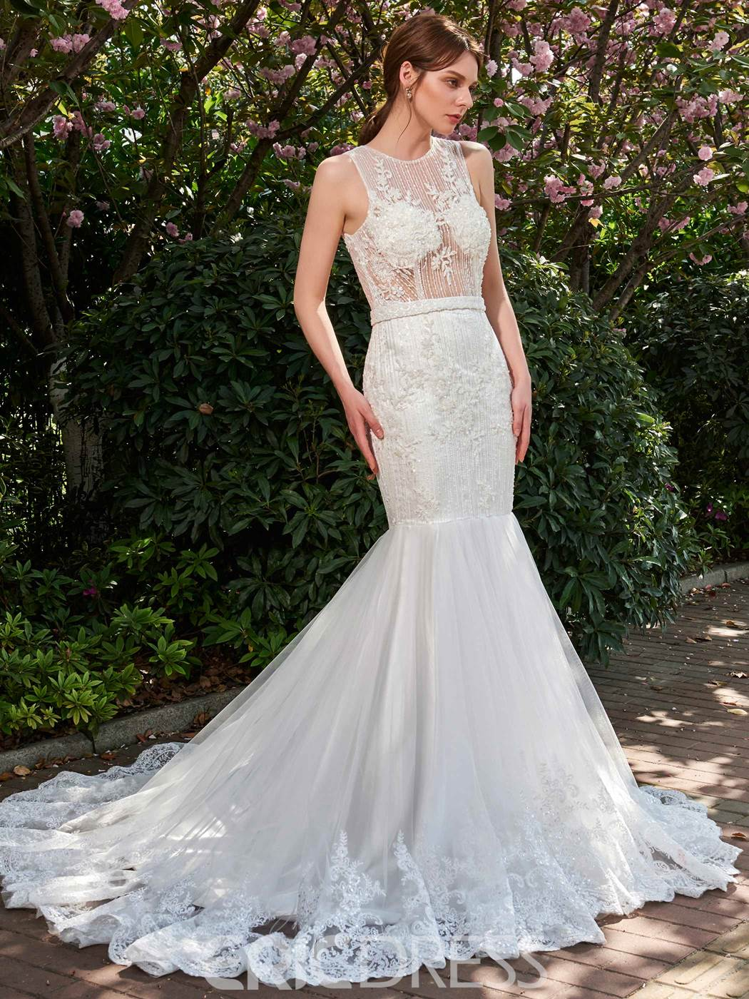 Ericdress Mermaid Illusion Neckline Appliques Beaded Wedding Dress