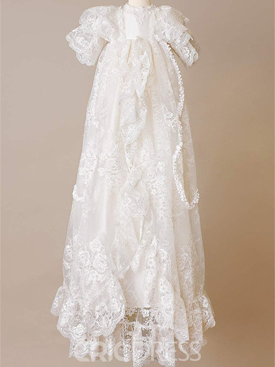 Ericdress Lace Infant Baby Baptism Christening Gown with Bonnet ...