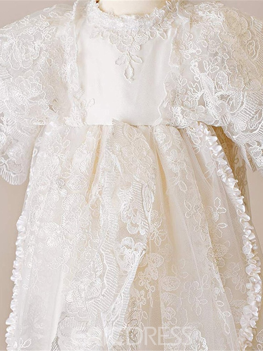 Ericdress Lace Infant Baby Baptism Christening Gown with Bonnet