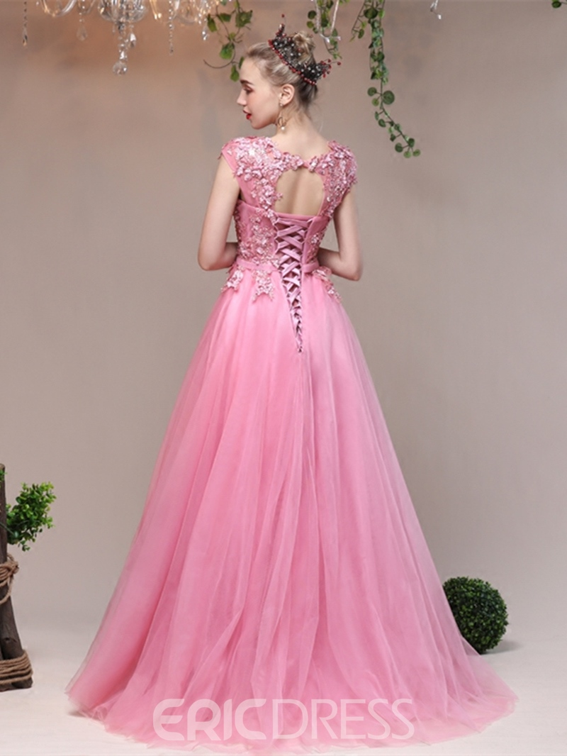 Ericdress A Line Cap Sleeve Applique Lace-Up Evening Dress
