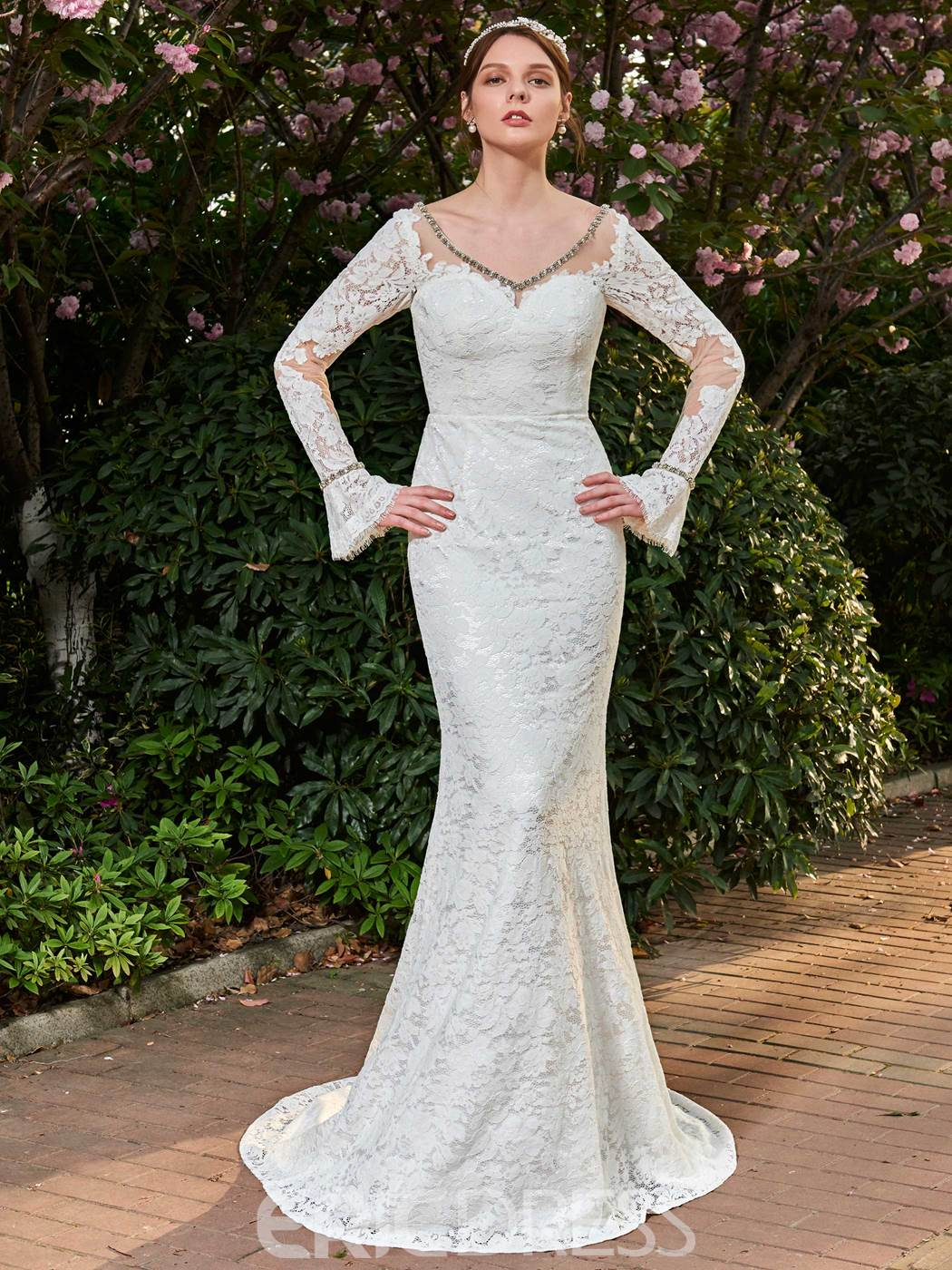 Ericdress Lace Mermaid Long Sleeves Backless V Neck Wedding Dress