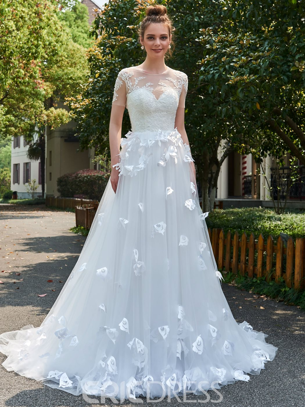 wedding dresses columbia sc ericdress a line sleeves tulle 3d floral appliques 9307