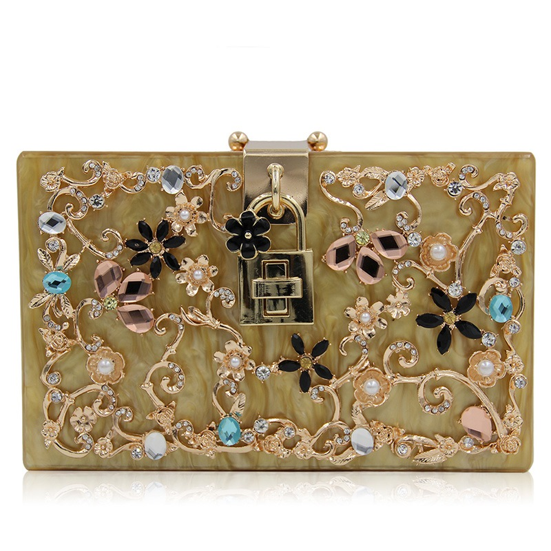 Ericdress Hollow Floral Rhinestone Acrylic Evening Clutch