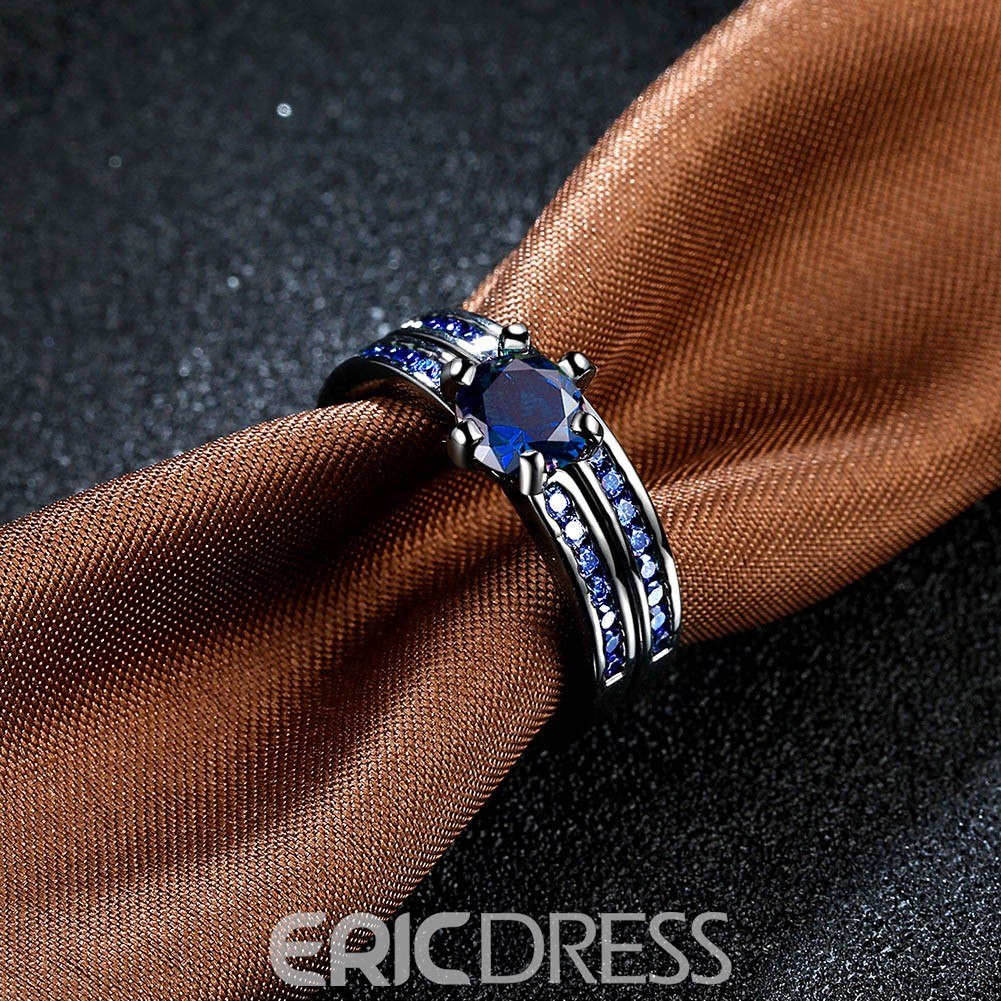 Ericdress Round Cut Created Blue Sapphire Bridal Sets