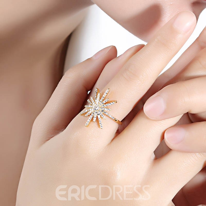 Ericdress Diamante Snowflower 18K Plating Ring