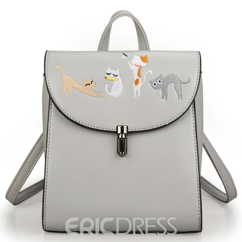 Ericdress Multifunction Cat Embroidery Latch Backpack