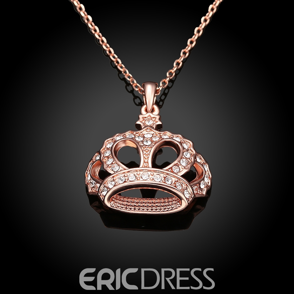 Ericdress Luxurious Crown Diamante Pendant Necklace