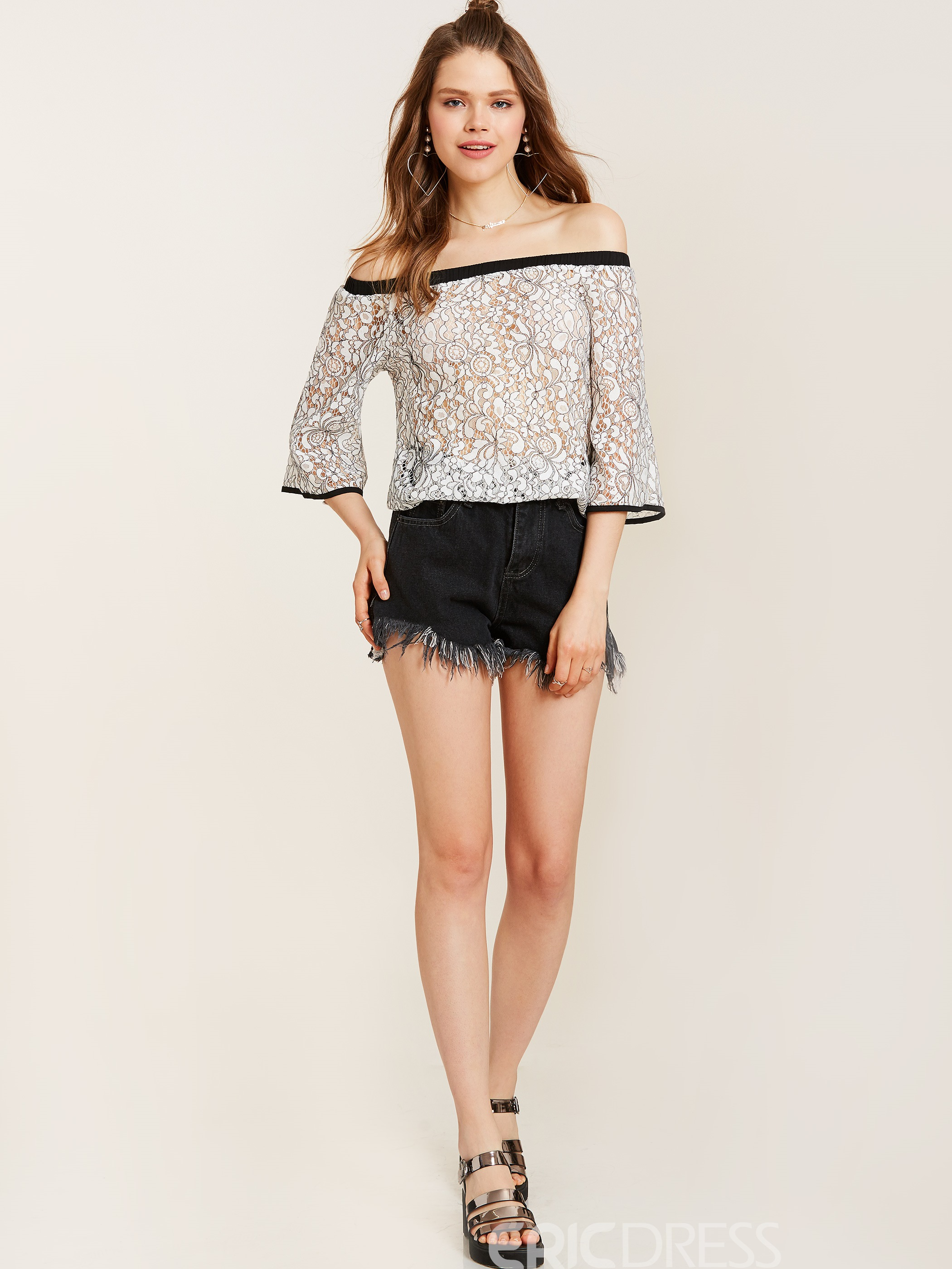 Ericdress Off Shoulder Three-Quarter Sleeve Lace Blouse