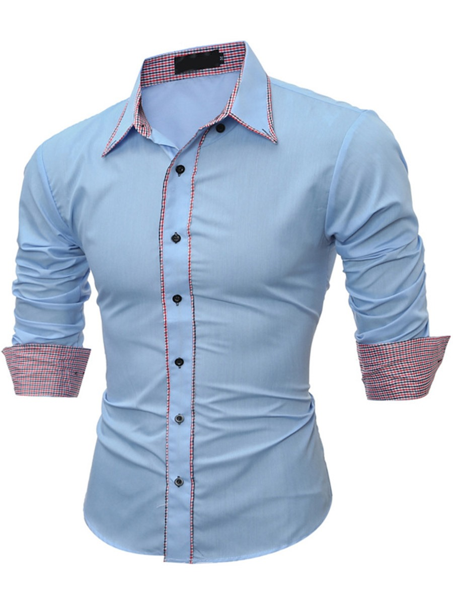 Ericdress Casual Color Block Patched Long Sleeve Men's Shirt