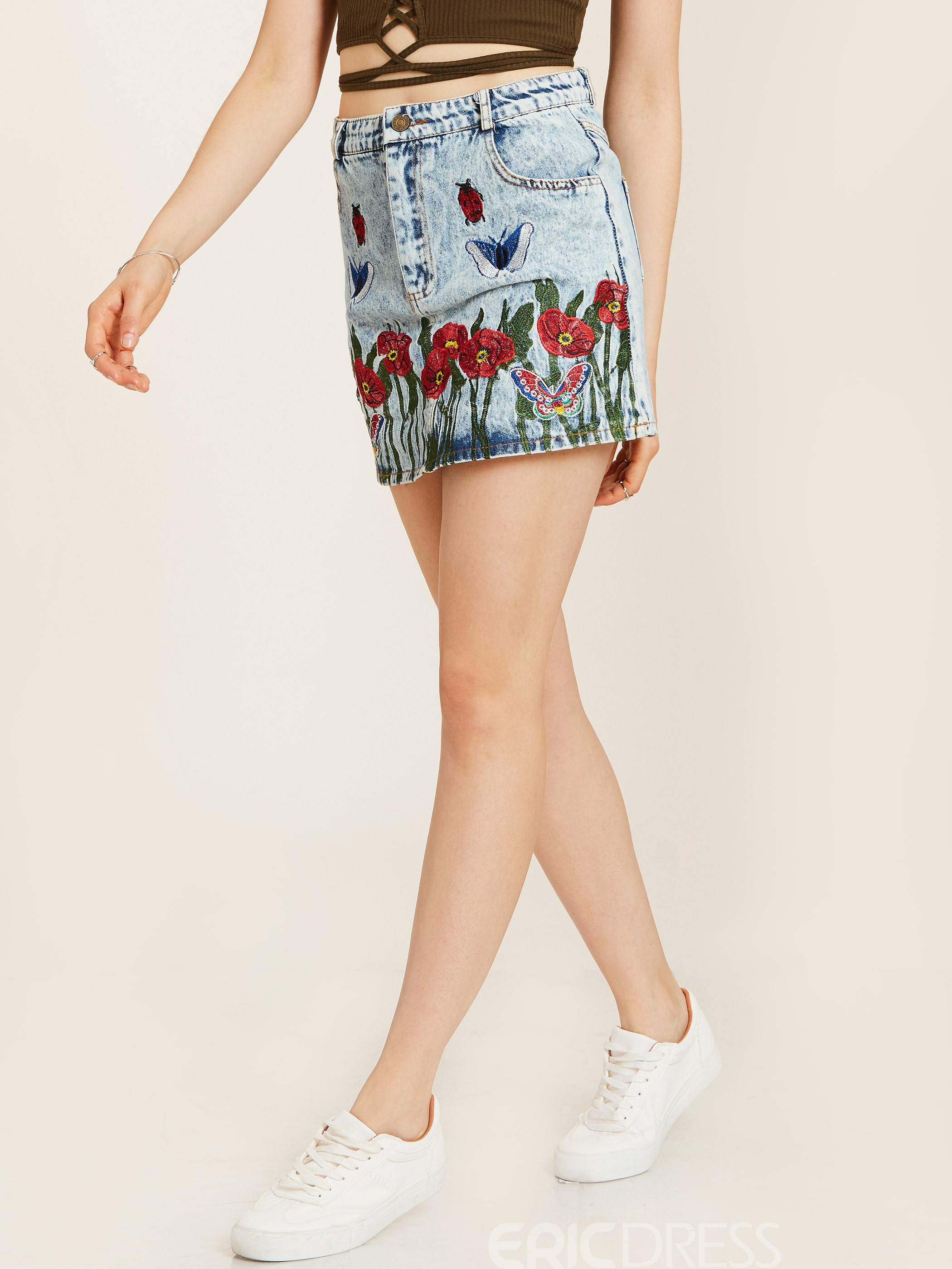 Ericdress Floral Embroidery Denim Women's Mini Skirt