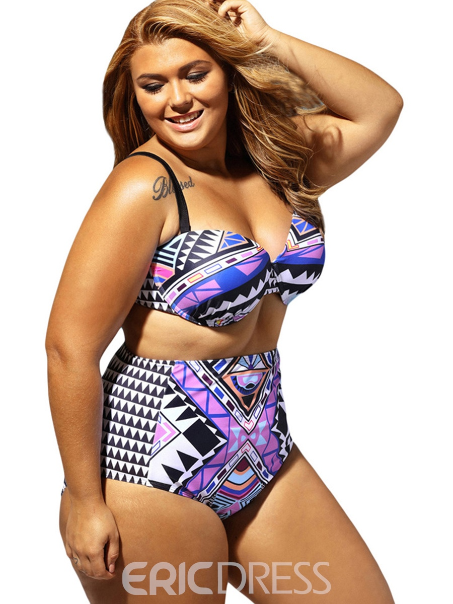 Ericdress Sexy Geometric Print High Waist Plus Size Swimwear