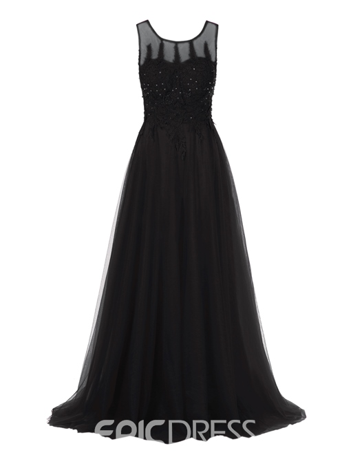 Ericdress A Line Scoop Neck Lace Applique Ankle Length Evening Dress