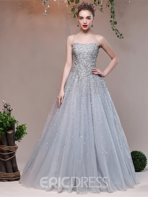 Ericdress A Line Sweetheart Beaded Long Evening Dress
