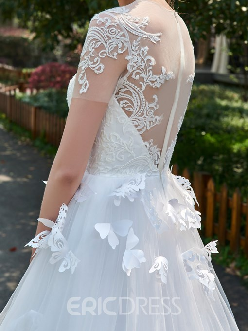 Ericdress A-Line Short Sleeves Tulle 3D Floral Appliques Wedding Dress