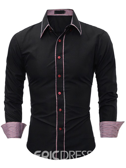 Ericdress Casual Color Block Patched Men's Shirt