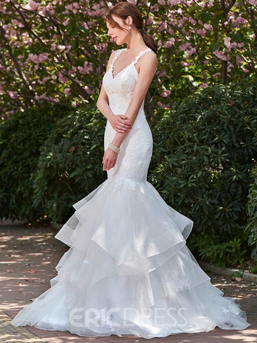 Ericdress Mermaid Backless Appliques Spaghetti Straps Wedding Dress