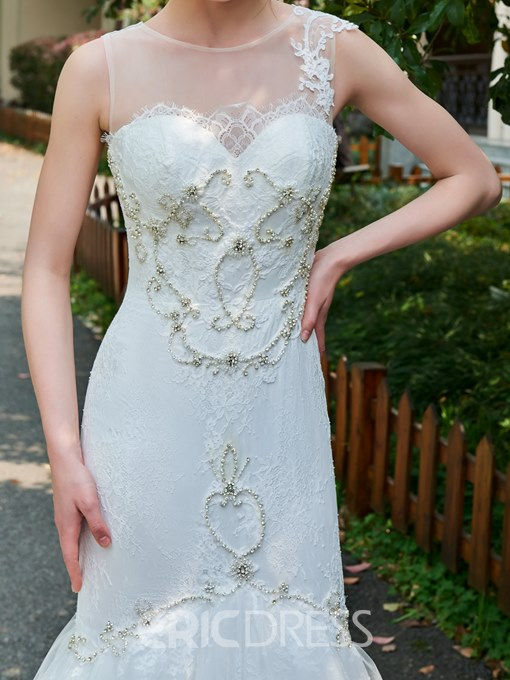 Ericdress Mermaid Lace Beading Wedding Dress with Long Train