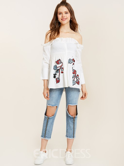 Ericdress Slash Neck Floral Embroidery Blouse