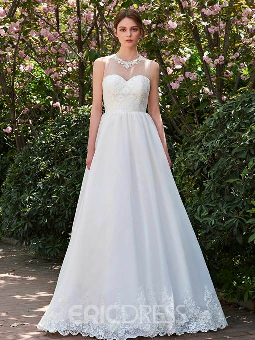 Ericdress A Line Lace Jewel Appliques Garden Wedding Dress
